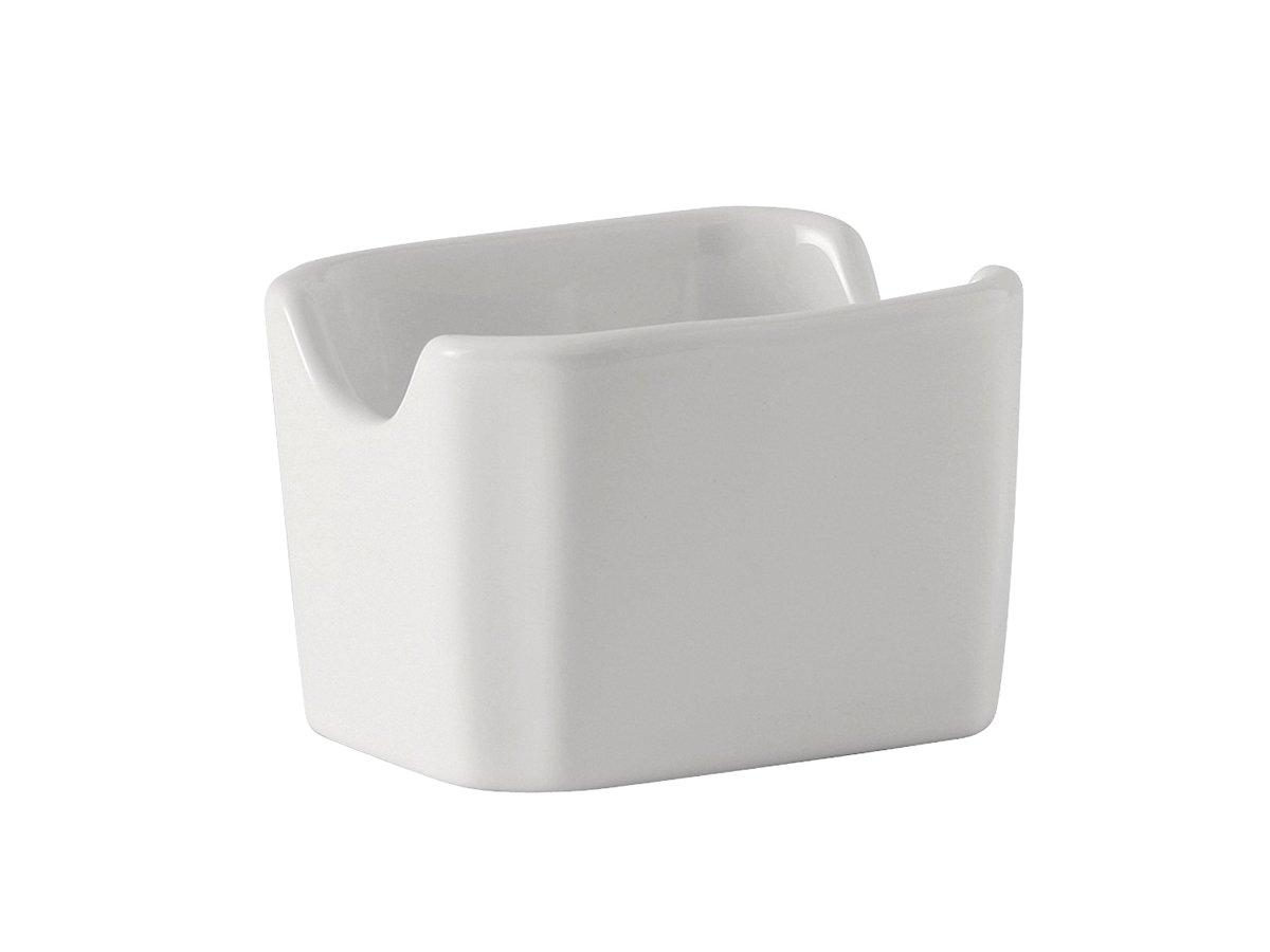 Tuxton BWQ-034 Vitrified China Sugar Packet Holder, 3-1/2'', White (Pack of 12),