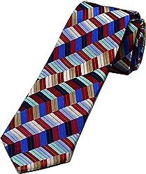 Zarrano Skinny Tie 100% Silk Woven Red/Blue Geometric Tie