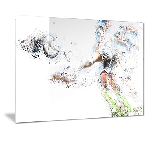 Designart Soccer Defense Metal Wall Art - MT2568 - 40x30 by Design Art