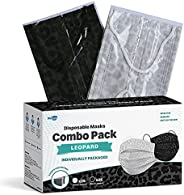 WeCare Disposable Face Mask Individually Wrapped - 50 Pack, Assorted Leopard Print Masks - 3 Ply