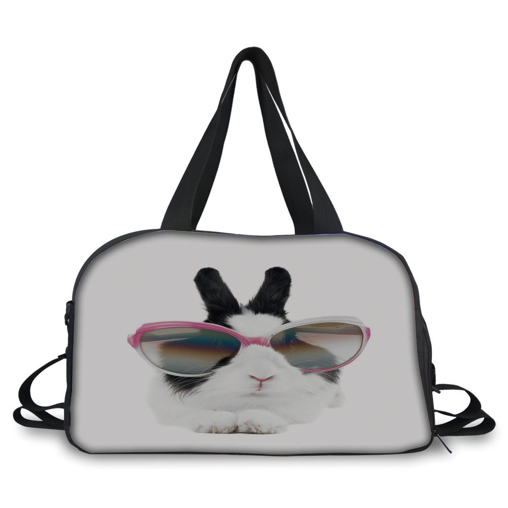 iPrint Travel handbag,Funny,Little Rabbit in Sunglasses Beauty Bunny Fluffy Creature Pet Portrait Fashion Image,Black White ,Personalized