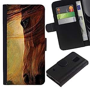 Paccase / Billetera de Cuero Caso del tirón Titular de la tarjeta Carcasa Funda para - horse eye painting oil art mane summer - Samsung Galaxy S5 V SM-G900