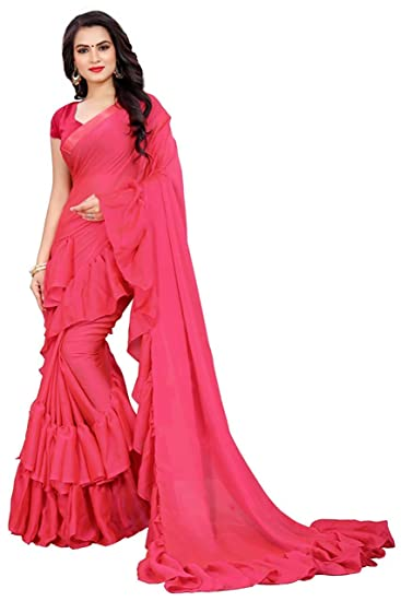 17a398e2d4 Nena Fashion Women's Georgette Solid Ruffle Saree with Blouse Piece (Red):  Amazon.in: Clothing & Accessories