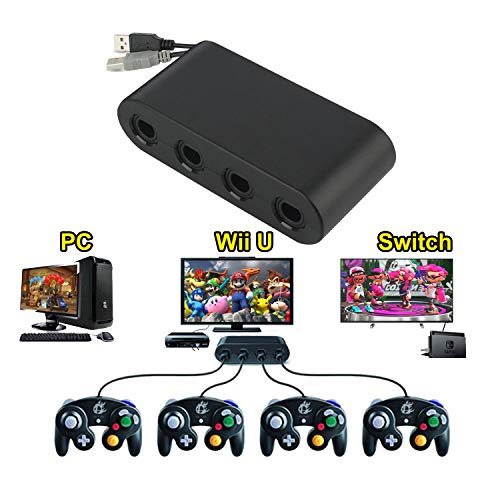 Wii U Gamecube Console Adapter, Sidith Gamecube NGC Console Adapter for Wii U,Nintendo Swith and PC USB(Easy to Plug and No Driver Need, 4 Port Black Gamecube Adapter)-Updated Version