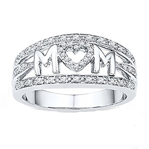 - Myhouse Women Girls 18k White Gold Plated Rhinestone Heart Ring MOM Letter Ring for Mother's Day Gifts (9)