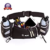 Hydration Running Belt For Woman And Men Adjustable For Jogging Fitness And Workout - Water Belts Fits Any Phones Iphone Size - Black Marathon Race Pack With Bottles - Fuel Waist Pouch For Runners