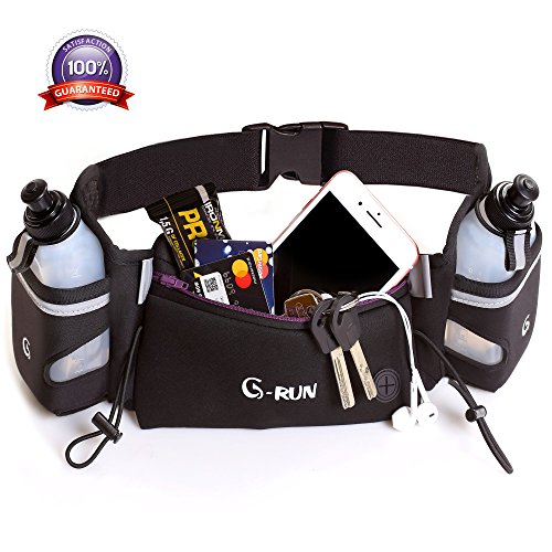Water Bottle Waist Pack - Hydration Running Belt For Woman And Men Adjustable For Jogging Fitness And Workout - Water Belts Fits Any Phones Iphone Size - Black Marathon Race Pack With Bottles - Fuel Waist Pouch For Runners