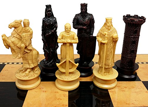 Medieval Times Crusades King Richard Lionheart Knight Chess Men Set Antique Color- NO BOARD