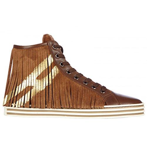 Hogan Rebel Hi Top Sneakers Donna HXW1410O3901ZBS801 Camoscio Marrone