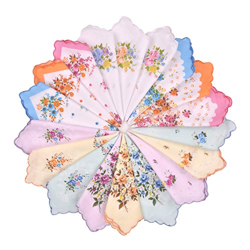Milesky Women's Handkerchiefs Vintage Floral Print Thickened Cotton (12 pcs)