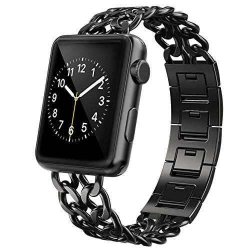 AmzAokay Replacement Bands Compatible for Apple Watch 38mm 42mm Stainless Steel Metal Cowboy Chain Strap Wrist Band for Apple Watch 40mm 44mm Series 4 3 2 1 Sport and Edition (Black, 42mm/44mm)