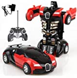 Tec Tavakkal® 2 in 1 Converting Car to Robot Toy with Remote Controller for Kids - Red and Blue