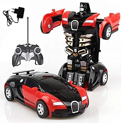 Brand Conquer Plastic Converting Car to Robot Transformer with Remote  Controller for Kids, (Red and Blue)