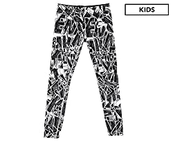 Nike Girls' Sportswear Mashup Printed Tights (Blackwhite, S)