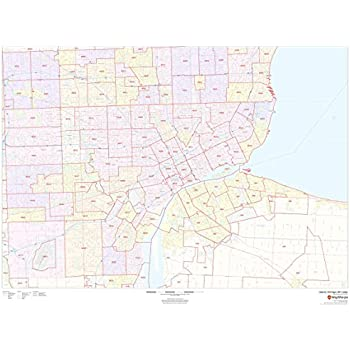 San Diego County, California Zip Codes - 48 x 36 Paper Wall Map ...