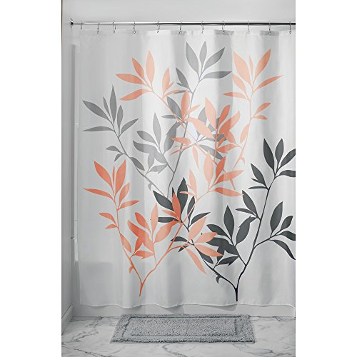 grey and coral shower curtain. InterDesign Leaves Shower Curtain  Gray Coral 72 Inch by and Amazon com