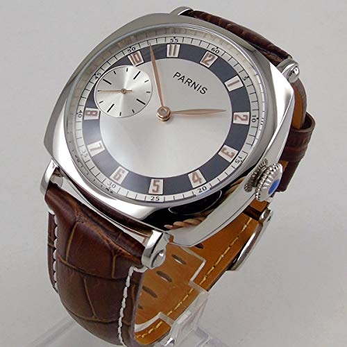 Parnis 44mm Silver Big Dial Rose Gold Pointer 17 Jewels 6497 Hand Manual Movement Men's Pilot Watch