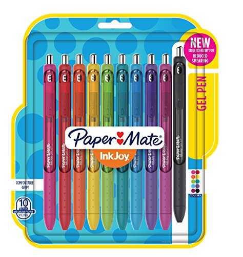 Paper Mate 1956279 InkJoy Gel Pens, Medium Point, Assorted Colors, 10-Count by Paper Mate