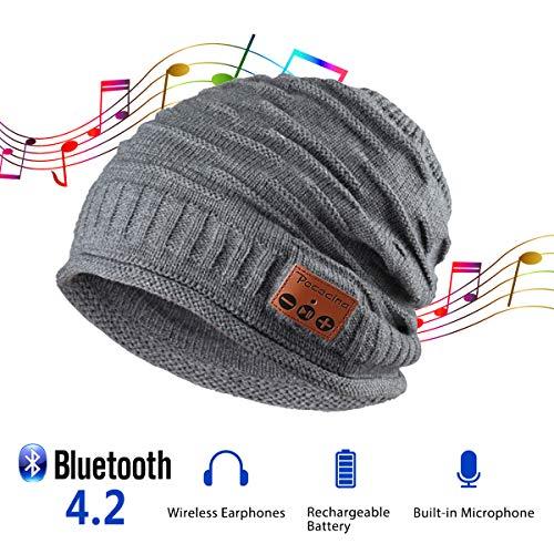 Pococina Upgraded 4.2 Bluetooth Beanie Music Hat Winter Knit Hat Cap Wireless Headphone Musical Speaker Beanie Hat as Christmas Birthday Gifts for Men Women Teen Girls Boys, Built-in Mic - 012 Gray
