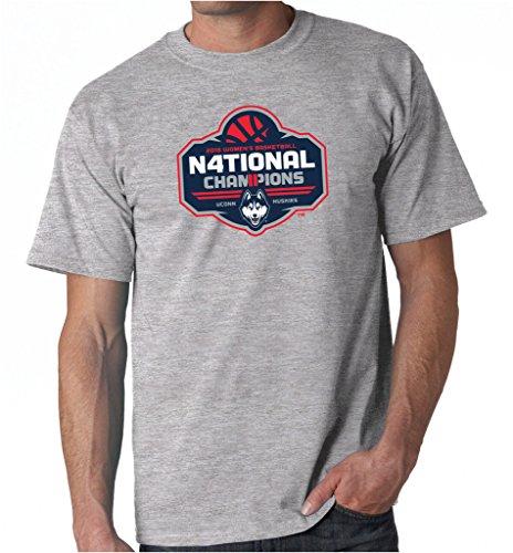 Husky Basketball Mens - UCONN Huskies Women's Basketball 2016 National Champs Men's T-Shirt (Heather Gray, Large)