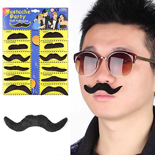 Baynne Mustaches Self Adhesive, 12pcs Stylish Costume Party Fake Beard Mustache Party Funny Beard Whisker ()