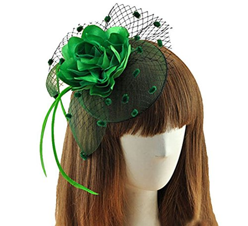 [Coolwife Womens Fascinator Veil Flower Cocktail Tea Party Headwear (Green)] (Easy Movie Inspired Costumes)