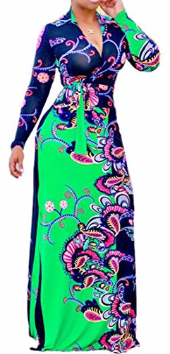 Floral Long Long with 1 V Neck Dress Sleeve Belt Women's Print Jaycargogo H7WnBxZOw