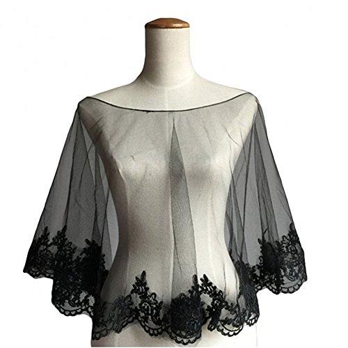 ZAHY Women's Wraps Cape Lace Shawl for Wedding Dresses (Black) Lace Sheer Coat