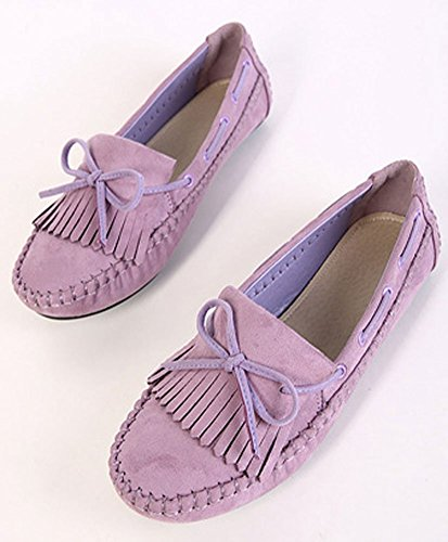 Plaid & Plain Mujeres Embarazadas Gamuza Con Punta Redonda Bowknot Slip On Flats Shoes Purple