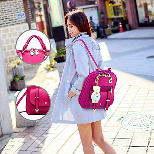 Red Leather PetHot Travel Rose Shoulder Bag College PU Backpack Girl zq5Of6w