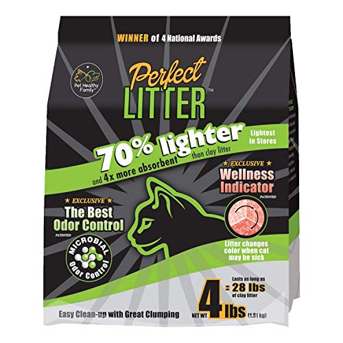 Perfect Litter - Premium Lightweight Cat Litter with Color-Changing pH Monitoring Wellness Indicator - 4 Pound Bag/One Month Supply