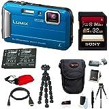 Panasonic DMC-TS30A LUMIX Tough Camera (Blue) +32GB U3 SDHC + 2 Extra Batteries