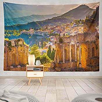 Summor Tapestry Sunset Beautiful Travel Photo Colorful Image Sicily Hanging Tapestries 60 x 80 inch Wall Hanging Decor for Bedroom Livingroom Dorm