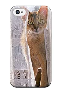 Iphone 4/4s Cover Case - Eco-friendly Packaging(cat Peeking Through Curtain)