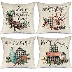 Christmas Farmhouse Home Decor AENEY Christmas Decorations Pillow Covers 18×18 Set of 4, Buffalo Plaid Tree Wreath Rustic Winter Holiday Throw Pillows… farmhouse christmas pillow covers