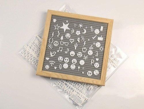SUSUQI レターボード メッセージボード DIY文字板 374個アルファベット/数字/記号 木製フレーム インテリア 学校/家庭/オフィス/お店用ボード用品 収納バッグ付き 子供へのプレゼント size 10*10inch (Gray)