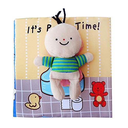 Meridian Toilet - RONSHIN Funny Baby Early Learning Soft Cute Cloth Books Animal Embroidery Go to the Toilet Take a Shower Education Toys Toilet Cloth Book