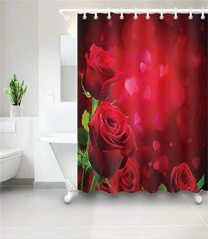 Amazon WENTAi Rose Shower Curtain Polyester Fabric Waterproof