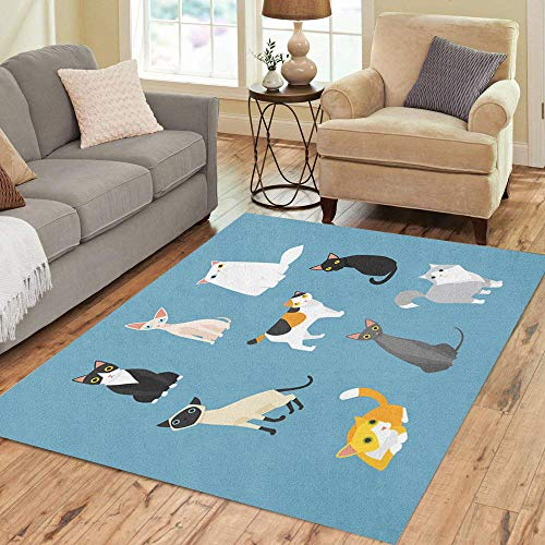 Semtomn Area Rug 5' X 7' Blue Kitten Cat Colorful Pet Sphynx Siamese Simple Turkish Home Decor Collection Floor Rugs Carpet for Living Room Bedroom Dining Room