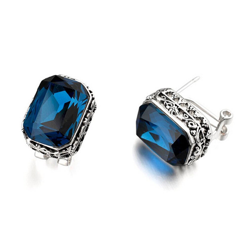 Silver Tone Rectangle Shaped Sapphire Blue Swarovski Elements Crystal Leverback Earrings Fashion Jewelry