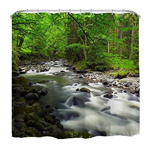 DENGYUE rystal-Clear Stream Shower Curtain, Green Round Moss by Water Small Cobblestone Fresh Air in Forest Beautiful Landscape Bathroom - Monkey Paisley Blue