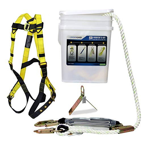 Roofing Kit - Spidergard SP-RFKIT Construction Harness with Leg Tongue Buckle Straps and 4 Pieces Roof Kit Combo