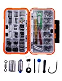 #5: Fishing Hooks Set 350pcs Accessories Kit Tackle Box with Barbed Hook, Rolling Barrel Swivels, Quick Lead Sinker, Bobber Stopper Accessory Tool