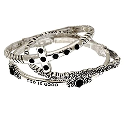 Christian Religious Scripture Cross Stretch Bangle Bracelets 3 Pieces Set