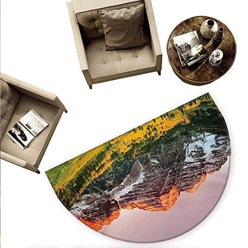 Grip Sun Valley - Mountain Half Round Door mats Scenic Western American Mountains on Valley with Snowy Peaks at Sunset Landscape Bathroom Mat H 70.8