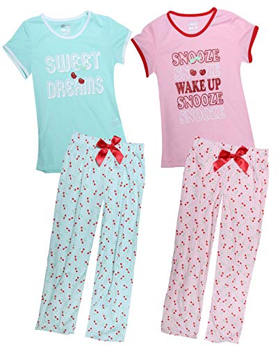 Sleep On It Girl\'s 4-Piece Summer Pajama Sleepwear Tank Top Pant Set (2 Full Sets) (Sweet Dreams, 10-12)'