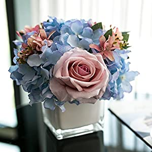 LighSCH Artificial Flowers Fake Bouquet Silk Flower Rose Glass Vases Blue Pink 65