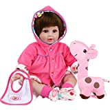 Kaydora Reborn Baby Doll 22 Inch Lifelike Baby Reborn Girl Huggable Soft Body Toddler Doll with A Cute Giraffe