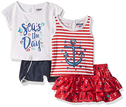 Limited Too Baby Girls Sleeve T-Shirt, Tank Top, Skirt and Short Set, Anchor Multi, - Jersey Top One Keyhole Clothing