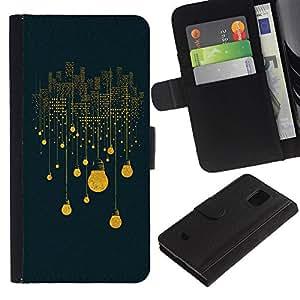 iBinBang / Flip Funda de Cuero Case Cover - Bulbo Eléctrico Luces de la ciudad Rascacielos Arte - Samsung Galaxy S5 Mini, SM-G800, NOT S5 REGULAR!